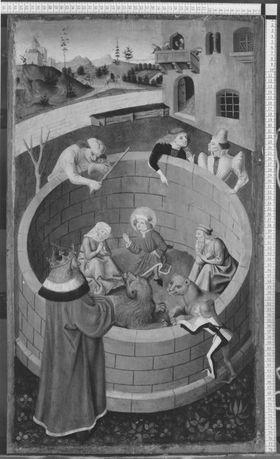 Veitsaltar: Die hll. Veit, Modestus und Crescentia im Löwenzwinger