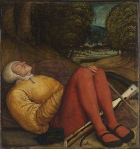 Schlafender Grabwächter mit Armbrust