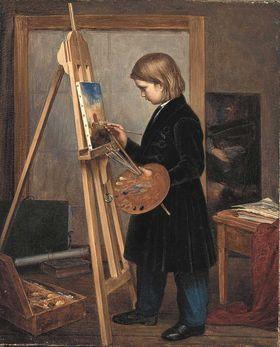 Oskar Begas im Alter von sieben Jahren an der Staffelei