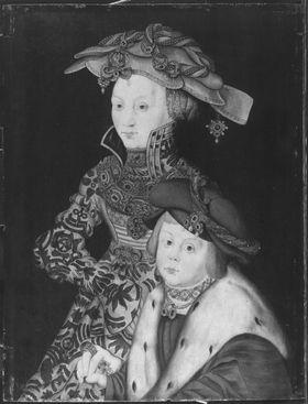 """Johann Friedrich von Sachsen (""""der Großmütige"""") als Knabe und seine Mutter Sophie von Mecklenburg"""