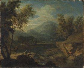Gebirgige Flusslandschaft mit Anglern