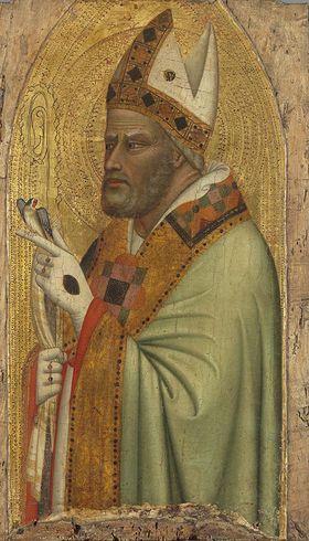Hl. Bischof mit einem Stieglitz