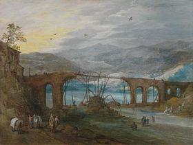 """Berglandschaft mit Bogenbrücke (""""Die zerstörte Brücke"""")"""