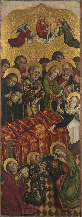 Flügel eines Altares: Marientod Rückseite: Maria der Verkündigung