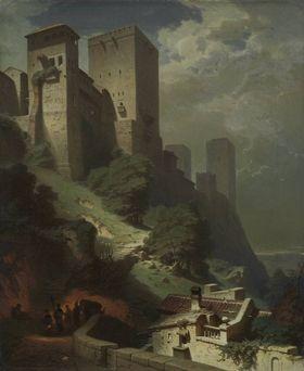 Ansicht des Comares-Turmes auf der Alhambra bei Mondschein