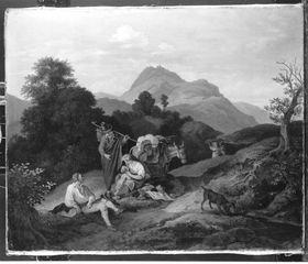 Landschaft bei Civitella mit ruhenden Wanderern (Rastendes Volk in den Bergen)