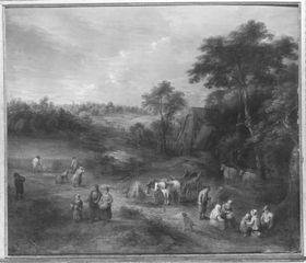 Flämische Landschaft mit Ernte