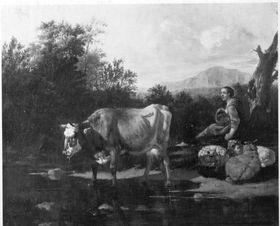 Viehstück mit Hirtin