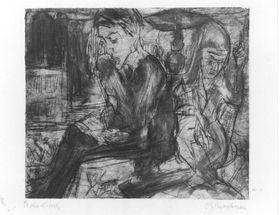 Zwei sitzende Menschen bei der Lampe