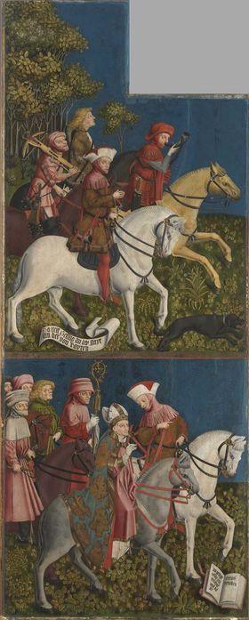 Kreuzaltar, Flügelinnenseite: Herzog Tassilo reitet zur Jagd, Herzog Tassilo führt den Bischof zur Fundstelle des Kreuzes