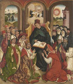 Weihenstephaner Altar: Der hl. Benedikt als Vater des abendländischen Mönchtums Rückseite: Kreuzannagelung Christi