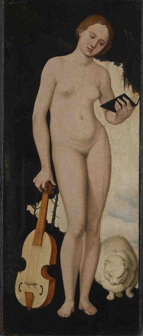 Allegorische Frauengestalt mit Liederbuch, Viola und Katze