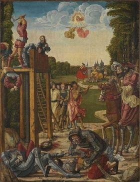 Hll. Stephanus und Mauritius (Rückseite: Martyrium der thebaischen Legion / Tod des hl. Gereon)