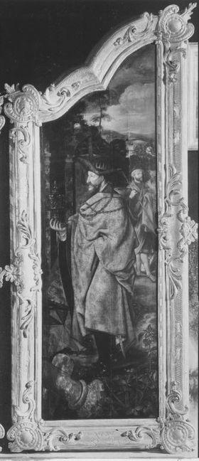 Anbetungstriptychon: Rechter Flügel mit dem zweiten König Rückseite: Maria mit Kind