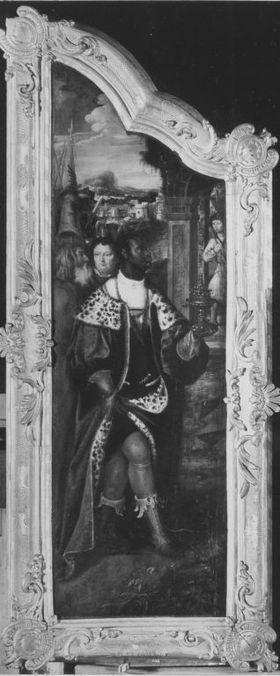 Anbetungstriptychon: Linker Flügel mit dem Mohrenkönig Rückseite: Christus als Erlöser