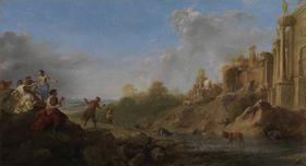 Ruinenlandschaft mit tanzendem Faun