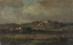 Landschaft mit Dorf und Burg