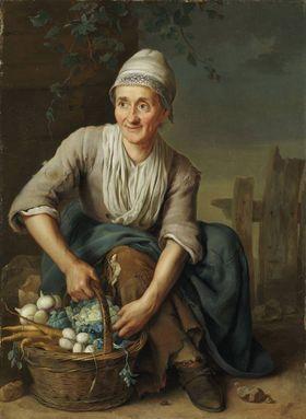 Alte Frau mit Gemüsekorb