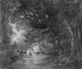 Waldlandschaft mit badenden Kindern