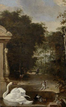 Vogelpark mit Schwan und Hund