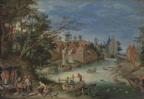 Fischverkauf am Ufer eines Kanals