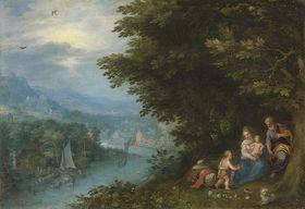 Flusslandschaft mit der Ruhe auf der Flucht