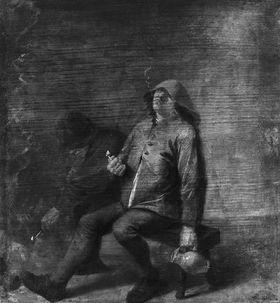Zwei rauchende Bauern am Kamin