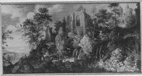 Landschaft mit Kapellenruine
