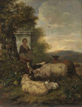 Abendlandschaft mit Schafen, Ziegen und Hirtin
