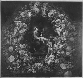 Heilige Familie mit Johannesknaben im Blumenkranz