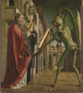 Kirchenväteraltar, Flügelaußenseite: Der Teufel weist dem hl. Augustinus das Buch der Laster vor