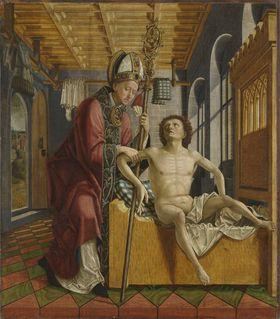 Kirchenväteraltar, Flügelaußenseite: Der hl. Augustinus heilt den Stiftsprobst