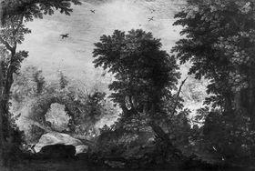 """Waldlandschaft mit der Fabel """"Der Adler und der Rabe"""""""