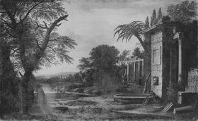 Landschaft mit Ruinen und Personenstaffagen