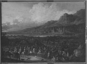 Heereszug (Übergang der Kaiserlichen über die Brücke von Esseck)