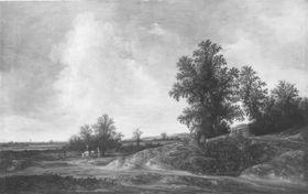 Landschaft mit Feldweg und Staffage