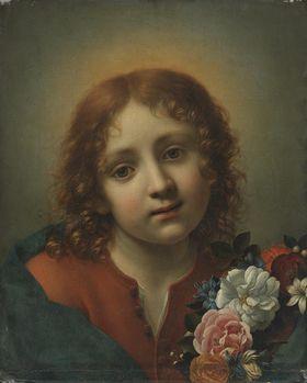 Jesusknabe mit Blumenkranz