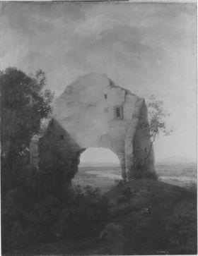 Ruine vor Flusslandschaft