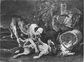 Zwei Hunde an einem Kalbskopf