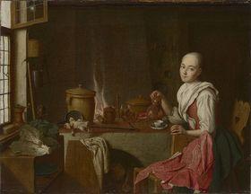 Küchenstillleben mit Kaffeetrinkerin