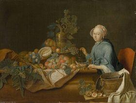 Früchtestillleben mit weiblicher Figur