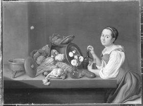 Stillleben mit weiblicher Figur mit Bierglas