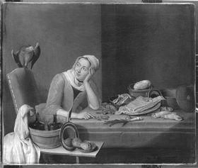 Küchenstillleben mit geldzählender weiblicher Figur und Papagei