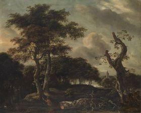 Baumlandschaft mit Entenjagd