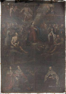 Kurfürst Maximilian I. von Bayern empfiehlt sich vor der Schlacht am Weißen Berg dem Schutz der Gottesmutter, der Heiligen Dreifaltigkeit und allen He