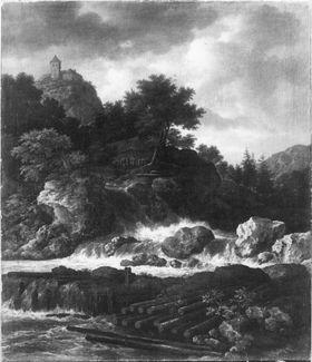 Nordische Gebirgslandschaft mit Wasserfall