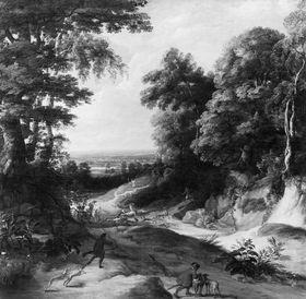 Landschaft mit Hirschjagd
