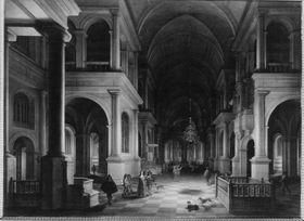 Nächtliches Interieur einer Kirche im Renaissancestil