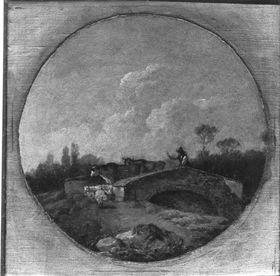 Landschaft mit Brücke, Vieh und Hirt