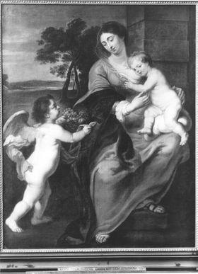 Maria mit Christuskind und einem Engel